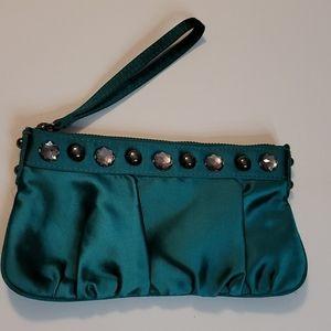 Express Studded Detail Jade Green Zip Wristlet
